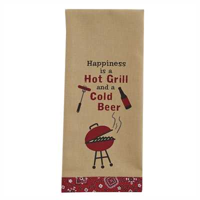 Hot Grill Cold Beer Printed Dishtowel