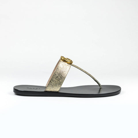 Gucci GG Leather Black Gold Thong Sandals