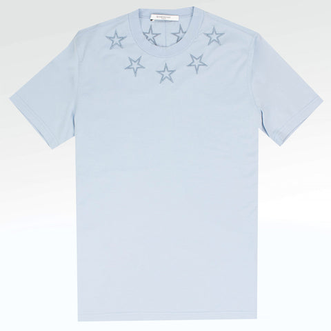 Givenchy Paris Embroidered Stars Baby Blue T Shirt