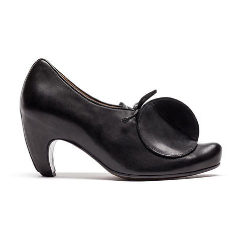 Black High Heel shoe with a circle design