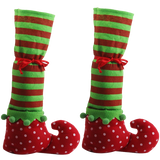 1 Pair Christmas Table Leg Covers Elf Elves Feet Shoes Legs Party Decorationg