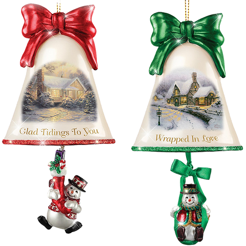 Christmas Ornaments- Thomas Kinkade Ringing In The Holidays Ornament Set