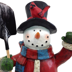 Festive Holiday Snowman Sculpture 20 Inch Hand Painted Keepsake