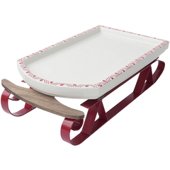 Hallmark Home Holiday Ceramic and Metal Serving Sleigh Platter