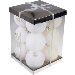 Large White Shatterproof Christmas Ornaments - 12 Pack Variety Bundle