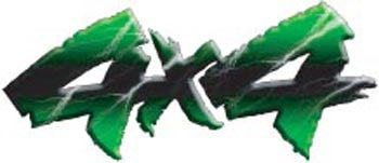 Lightning Series 4x4 Decals - Green