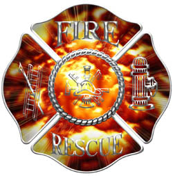 Maltese Cross Decal with Fire Rescue  - Flames