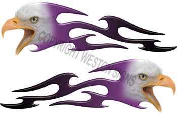 Tribal Purple Fade Eagle Flames