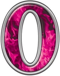 Reflective Number 0 with Inferno Pink Flames