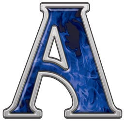 Reflective Letter A with Inferno Blue Flames