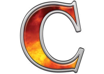 Reflective Letter C with Real Fire