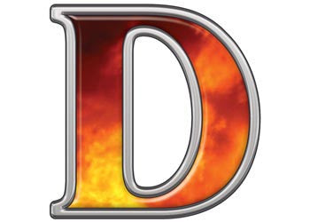 Reflective Letter D with Real Fire