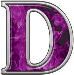 Reflective Letter D with Inferno Purple Flames