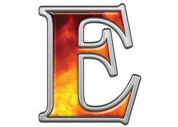Reflective Letter E with Real Fire