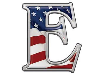 Reflective Letter E with Flag