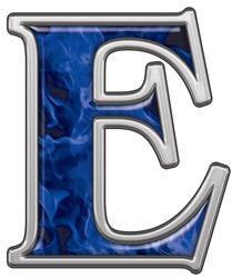 Reflective Letter E with Inferno Blue Flames