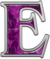 Reflective Letter E with Inferno Purple Flames
