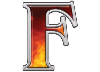Reflective Letter F with Real Fire
