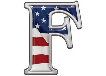 Reflective Letter F with Flag