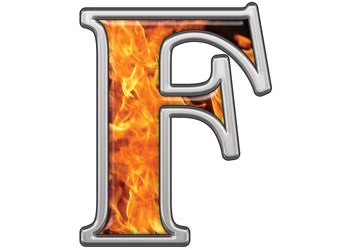 Reflective Letter F with Inferno Flames