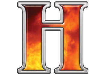 Reflective Letter H with Real Fire