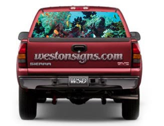 View Thru Tropical Coral Reef Rear Window Graphic