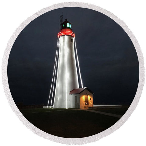 Fort Gratiot Lighthouse - Round Beach Towel