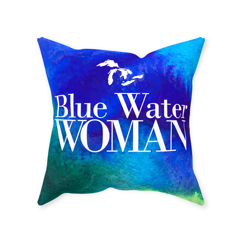 Blue Water Woman Throw Pillow -- Great Lakes Throw Pillow