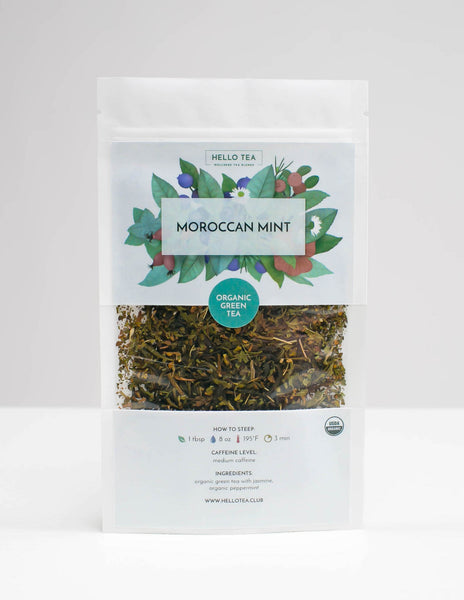 Stand up pouch of Hello Tea Moroccan Mint Loose Leaf Tea