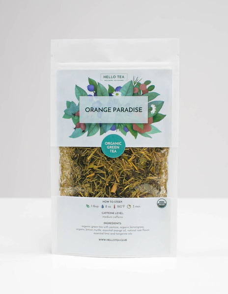 Stand up pouch with Hello Tea Orange Paradise Loose Leaf Tea