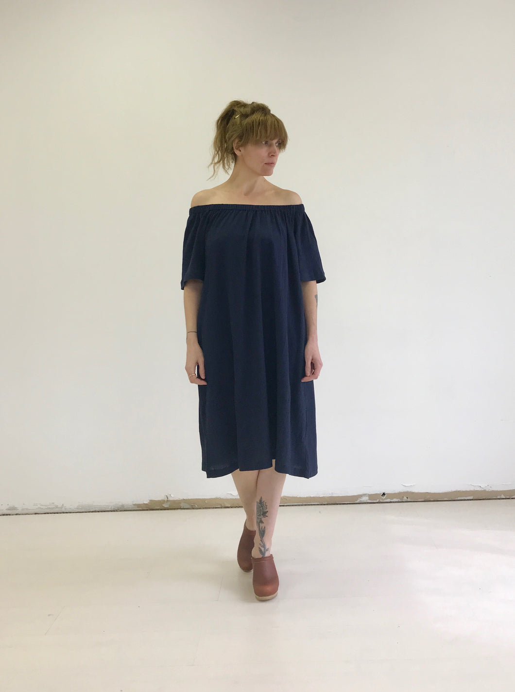 Sunja Link Gathered Neck Dress in Navy