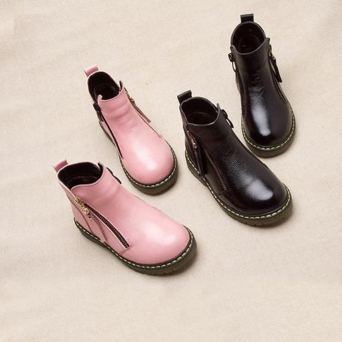Image of Doc Style Leather Pink Zipper Boots - Mini Chic Outlet