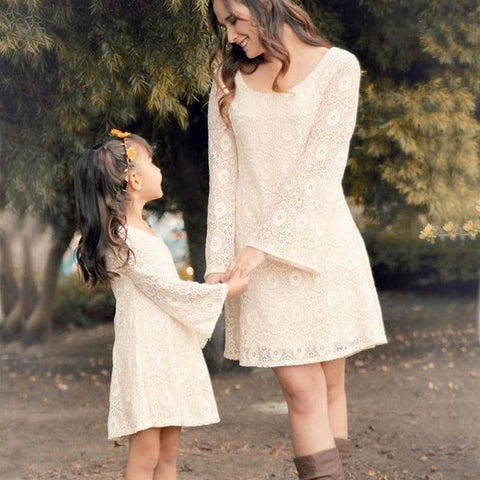 Image of Mother Daughter Matching Long Sleeve Floral Lace Dress - Mini Chic Outlet
