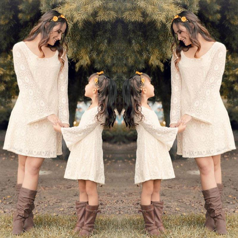 Mother Daughter Matching Long Sleeve Floral Lace Dress - Mini Chic Outlet