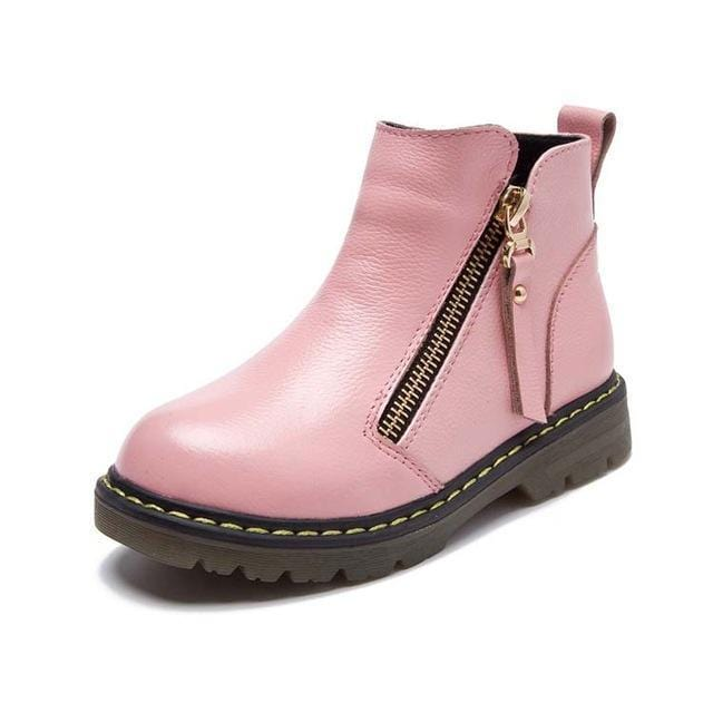 Doc Style Leather Pink Zipper Boots - Mini Chic Outlet