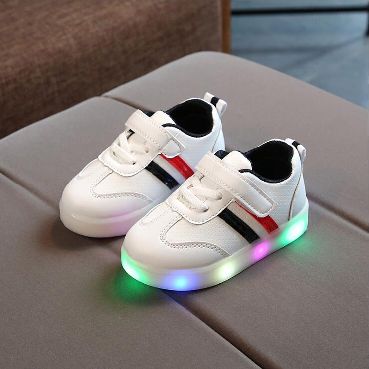 Kids Base Stripe LED Flashing Trainers (2-7 years) - Mini Chic Outlet