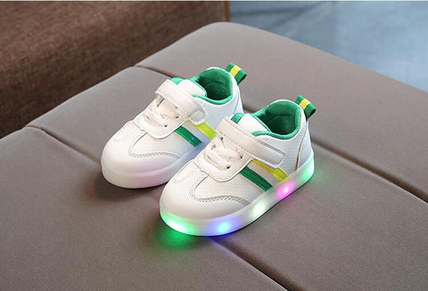Image of Kids Base Stripe LED Flashing Trainers (2-7 years) - Mini Chic Outlet