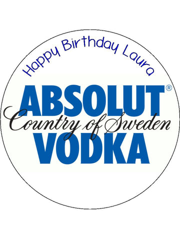 Absolut Vodka Logo Edible Icing Cake Topper