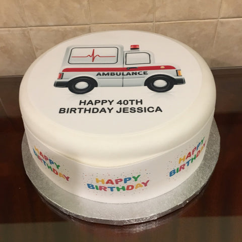 Ambulance Edible Icing Cake Topper 02