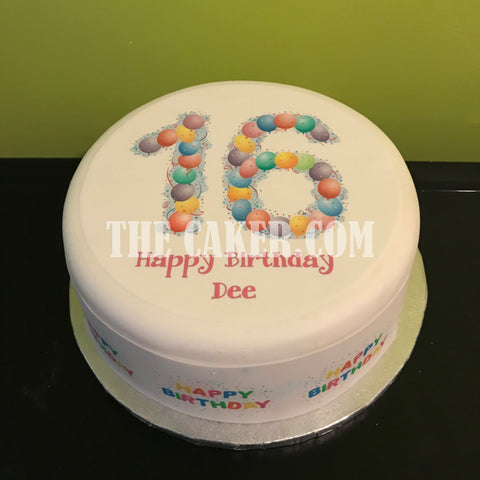 16th Birthday Balloons Edible Icing Cake Topper