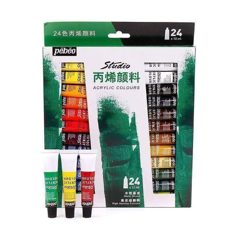 Image of 24 Acrylic Textile Paints - QuantumBitz Pebeo 24 Colors Paste Acrylic Paints Set 12ml Hand Painted Wall Drawing Artist Acrylic Painting Pigment Studio Set Art Supplies