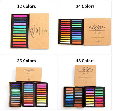 Image of 12 Color Soft Pastel Crayon Set - QuantumBitz Marie's Painting Crayons Soft Pastel12/24/36/48 Colors/Set Art Drawing Set Chalk Color Crayon Brush Stationery for Students