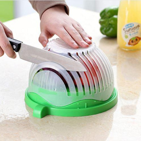 60 Second Salad Maker - QuantumBitz 60 Seconds Salad Cutter Bowl Easy Salad Maker Tools Fruit Vegetable Chopper Kitchen Tool Gadgets Cutter kitchen Accessories