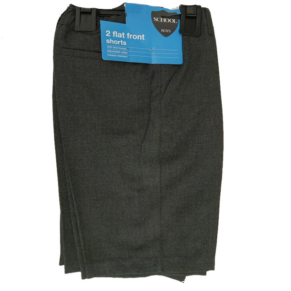 Boys 2 Pack twin Grey Tailored School Shorts Adjustable Waist  age 4-12
