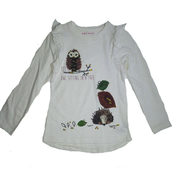 Girls Owl Top T-Shirt Top age 1-6 years autumn hedgehog cream