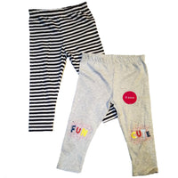 2 Pack Leggings Stripey Cotton Grey Black  12-18m, 18-24m, 2-3 3-4 4-5 5-6 yrs