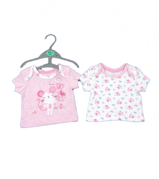 Girls 2 Pack Baby Mouse top t-shirt pink floral NB 1m 0/3 3/6 6/9 9/12m