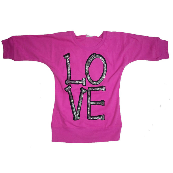 Girls Pink Love Top T-Shirt Top age 5-12 years sequins