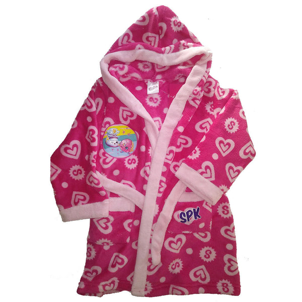 Girls Shopkins Pink Dressing Gown Robe Fleece Warm Wrap age 4-7 years