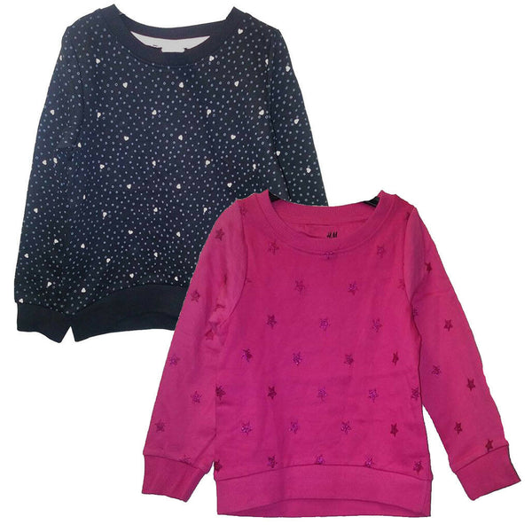 Girls Black Pink Heart Star Jumper Sweater Top age 18/24m, 3/4, 5/6, 7/8, 9/10